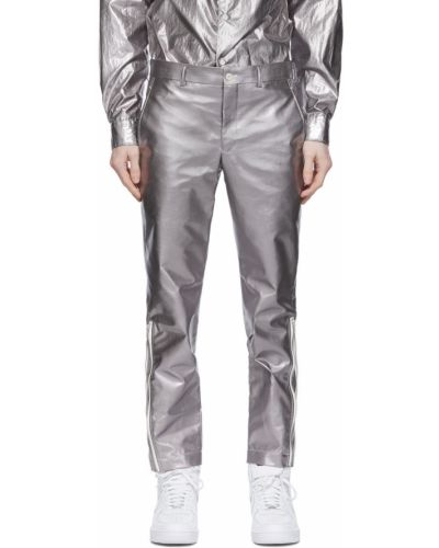Białe spodnie z paskiem srebrne Comme Des Garcons Homme Plus