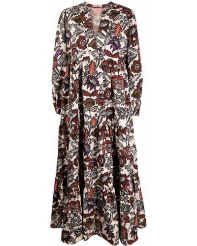 Платье макси для полных с длинными рукавами в цветочный принт Scotch & Soda