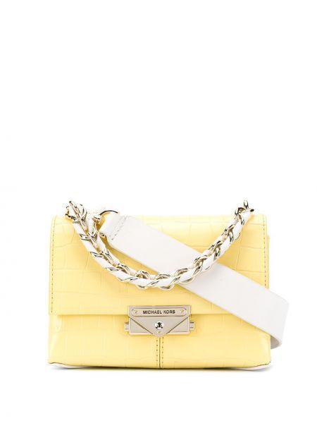 Желтая кожаная сумка на плечо с карманами Michael Michael Kors