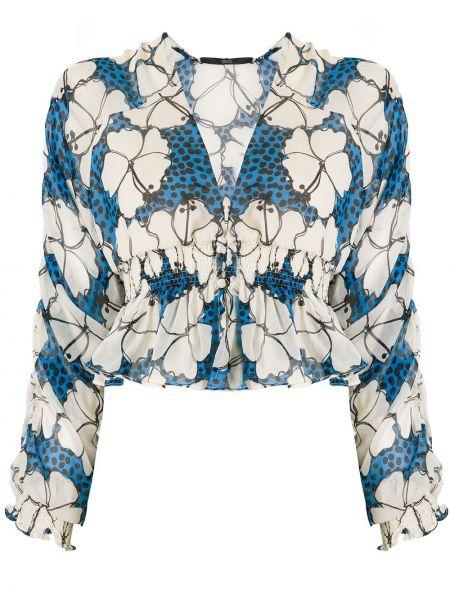 Wyposażone jedwab niebieski z rękawami bluzka Eva