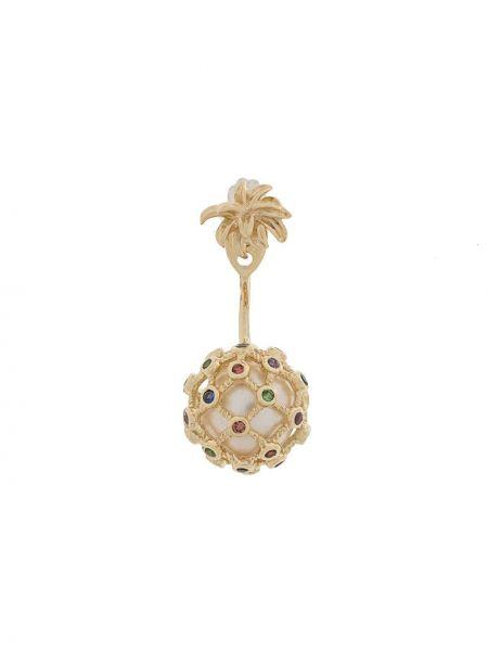 Золотистые золотые серьги золотые с бриллиантом Yvonne Léon
