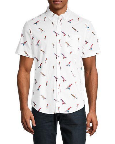 Biała koszula krótki rękaw bawełniana Original Penguin