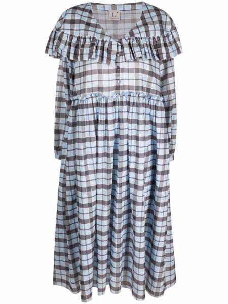 Хлопковое синее платье миди с оборками Lautre Chose