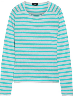 Бирюзовый кашемировый свитер в полоску Line