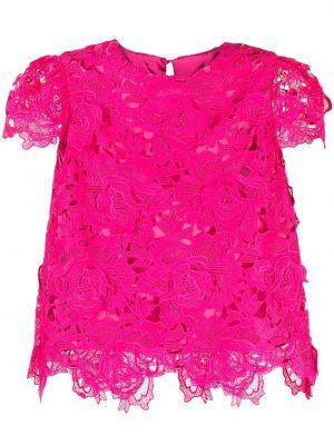 Кружевной розовый с рукавами топ Milly