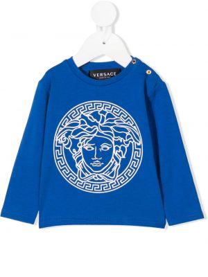 Niebieski top z długimi rękawami bawełniany Young Versace