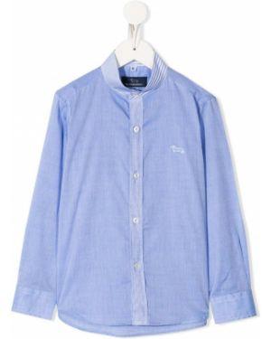 Синяя рубашка на пуговицах с вышивкой с воротником Harmont & Blaine Junior