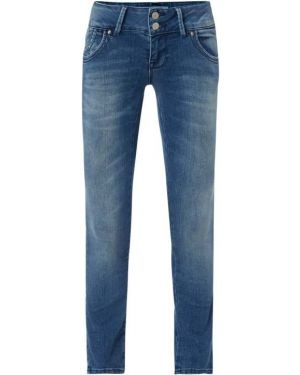 Niebieskie jeansy z haftem zapinane na guziki Ltb