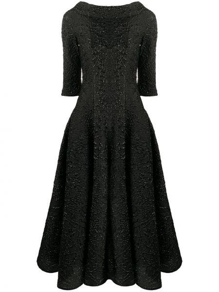 Шелковая черная юбка миди с карманами с воротником Talbot Runhof
