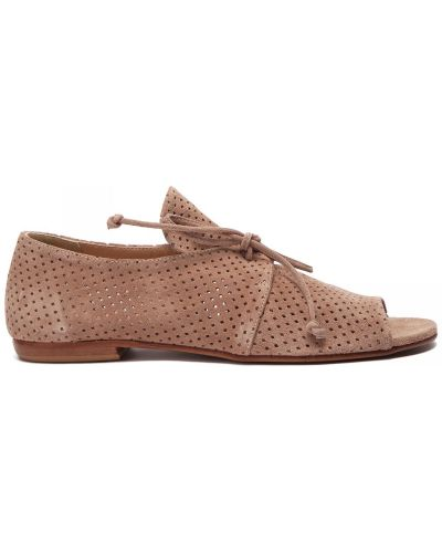 Открытые кожаные бежевые туфли Principe Di Bologna