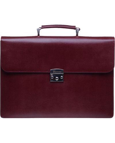 Кожаный портфель - бордовый Tigamaro