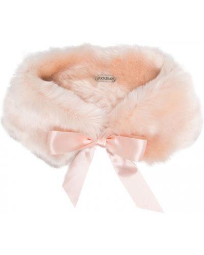 Розовый палантин из искусственного меха с заплатками Hucklebones London