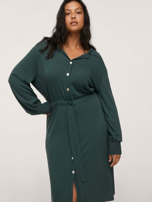 Платье рубашка - зеленое Violeta By Mango