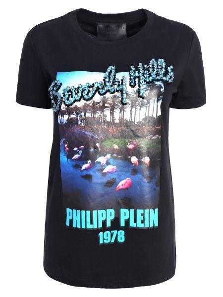 Футбольная прямая черная футболка со стразами Philipp Plein