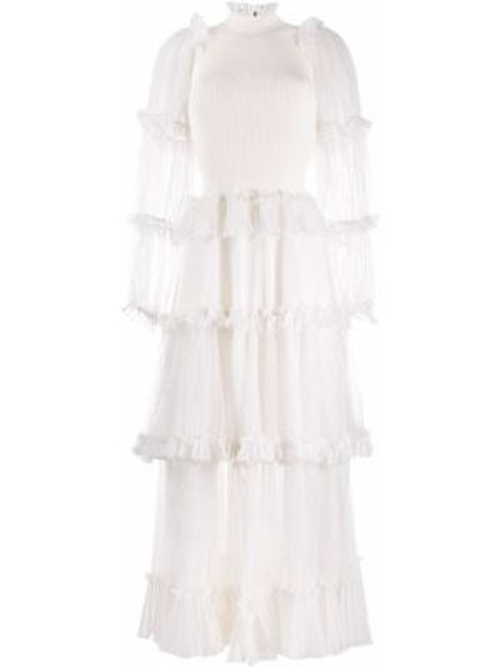 Платье миди в рубчик с поясом Alexander Mcqueen