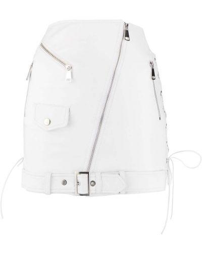 Белая кожаная юбка мини с карманами Manokhi