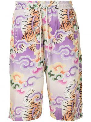 Фиолетовые шорты с принтом Maharishi