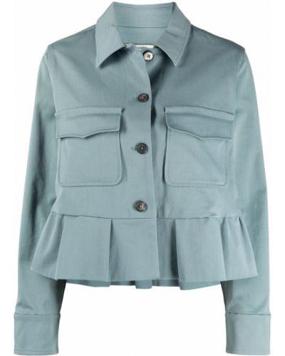 Синий классический пиджак с воротником на пуговицах Odeeh