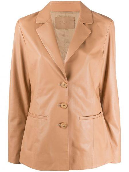 Коричневый приталенный кожаный пиджак Drome
