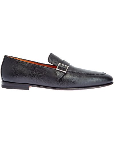 Кожаные черные лоферы на каблуке Santoni