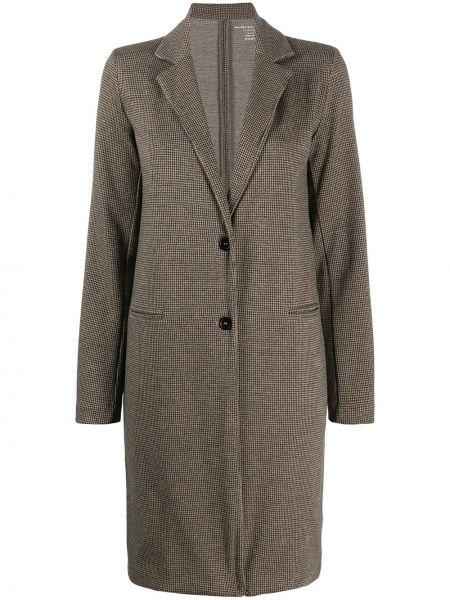 Коричневое однобортное приталенное длинное пальто с карманами Majestic Filatures