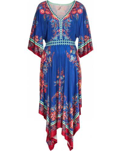 Платье с поясом в стиле бохо синее Bonprix