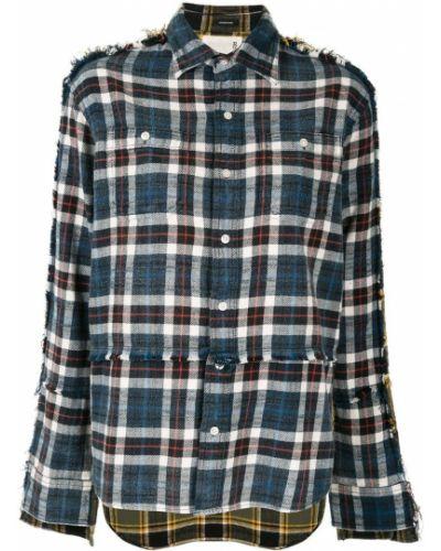 Рубашка с длинным рукавом в клетку с карманами R13