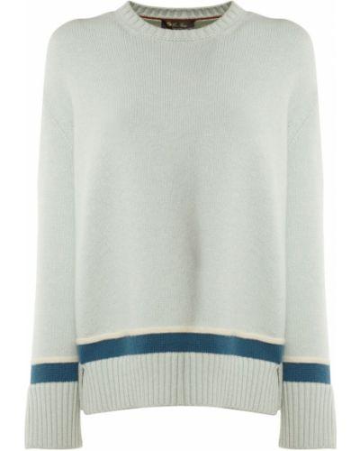 Синий кашемировый свитер с воротником Loro Piana