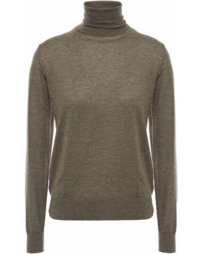 Prążkowany zielony z kaszmiru sweter N.peal