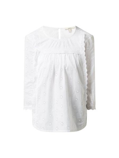 Biała bluzka z falbanami bawełniana Esprit
