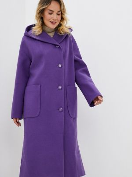 Фиолетовое пальто с капюшоном Gamelia