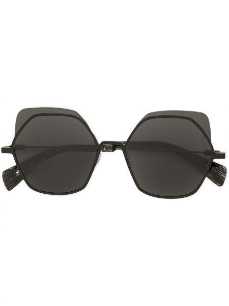 Czarne okulary srebrne Yohji Yamamoto