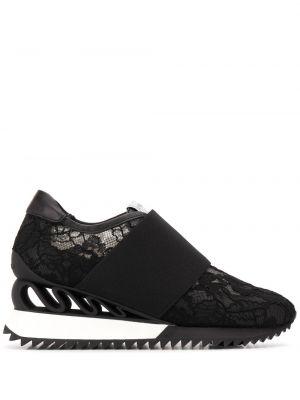 Skórzane sneakersy czarne na gumce Le Silla