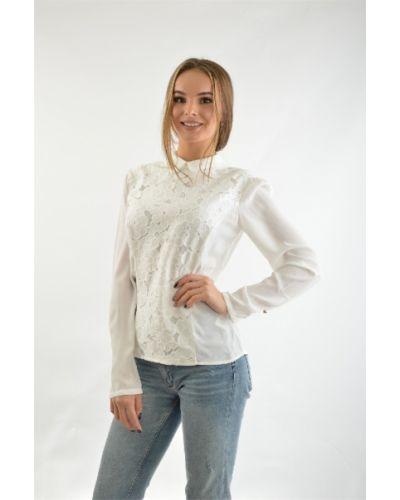 Блузка с принтом - белая Valkiria