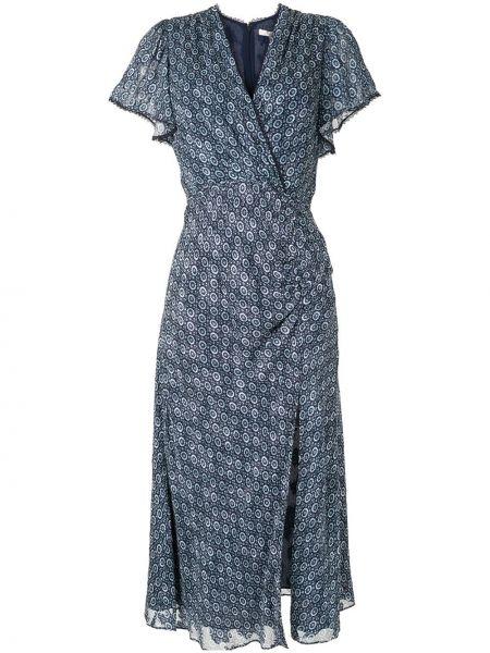 Шелковое платье миди с запахом с V-образным вырезом на молнии Jonathan Simkhai