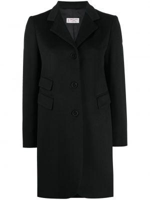 Однобортное шерстяное черное длинное пальто Alberto Biani