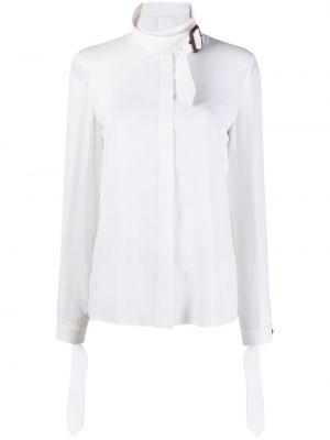 Biała koszula z długimi rękawami skórzana Michael Michael Kors