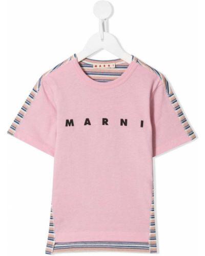 Розовая рубашка с коротким рукавом с нашивками круглая с короткими рукавами Marni Kids