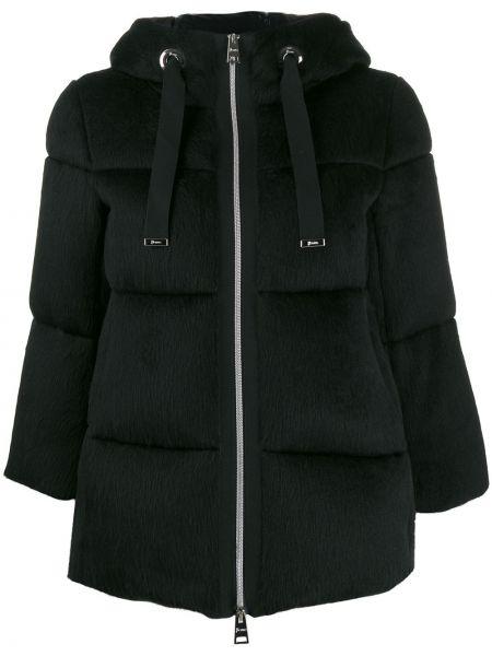 Дутая куртка черная на молнии Herno