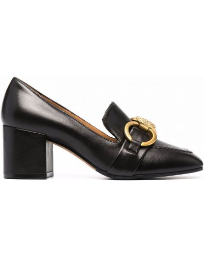 Loafers na obcasie - czarne Roberto Festa