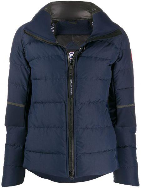 Пуховая синяя длинная куртка с перьями Canada Goose