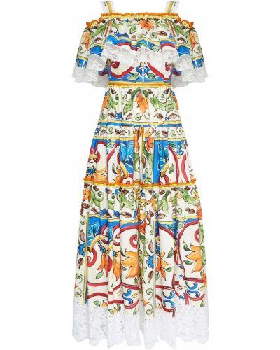 Летнее платье на бретелях с оборками Dolce&gabbana