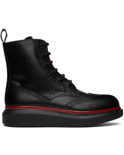 Кожаные черные ботинки на каблуке Alexander Mcqueen