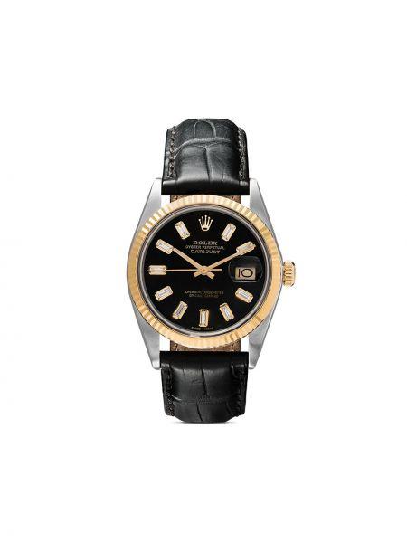 Золотистые кожаные белые часы с бриллиантом Lizzie Mandler Fine Jewelry
