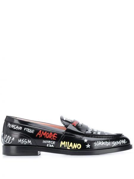 Czarne loafers skorzane z printem Msgm