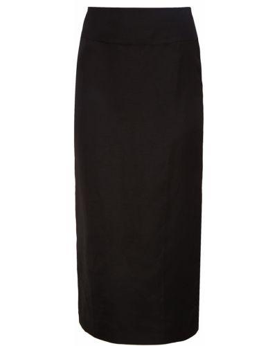 Прямая черная юбка миди с разрезом Tegin