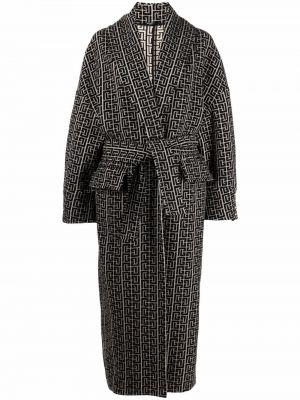 Черное пальто с лацканами Balmain