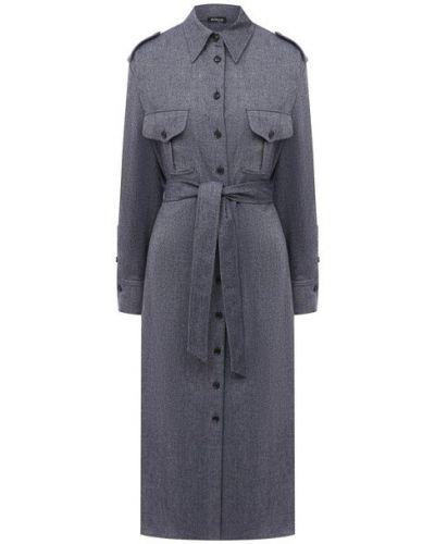 Шерстяное платье - синее Kiton