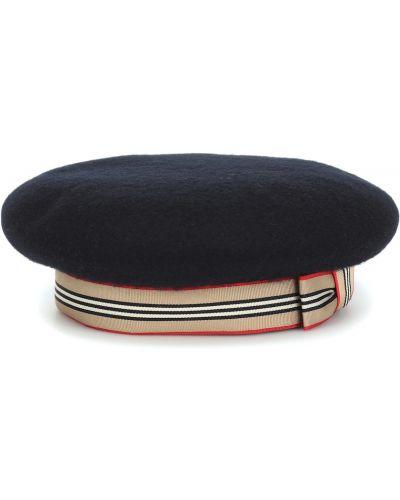 Czarny beret wełniany szkolny Burberry Kids