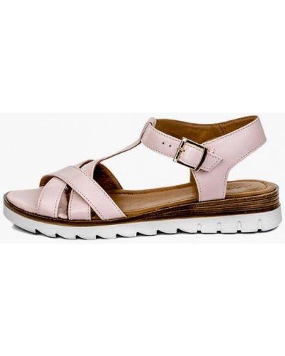 Розовые кожаные сандалии Pandora